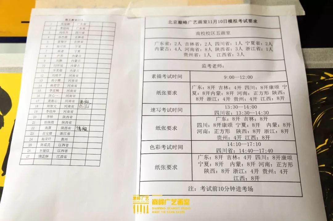 巅峰广艺大型联考模拟考试,美术联考,北京画室   30