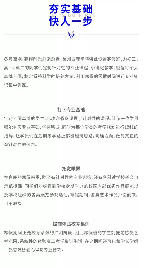 2020杭州白鹿学院寒假班招生简章 ,杭州美术寒假班,杭州美术招生简章    03
