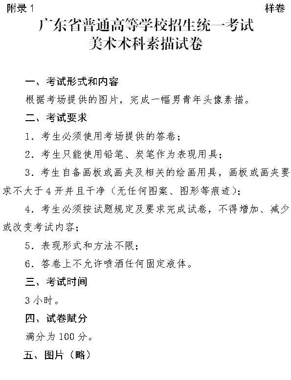 广东美术统考素描试卷