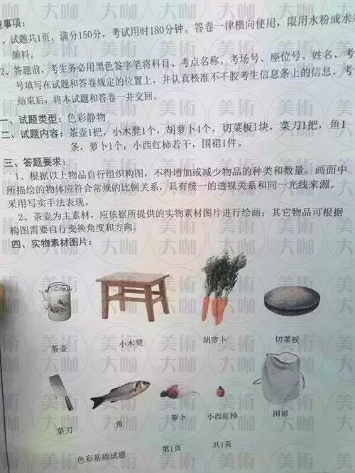 山东省往年美术联考考题2017