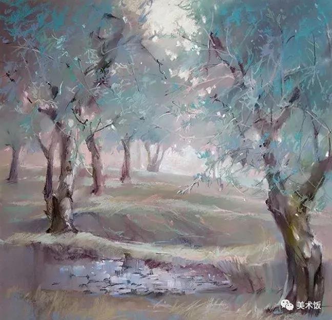 粉笔画作:柳树——美术饭