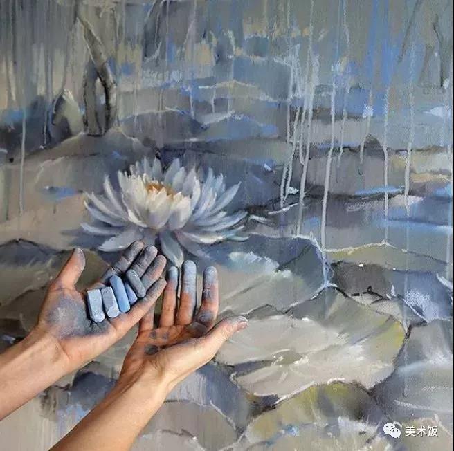 粉笔画作:莲——美术饭