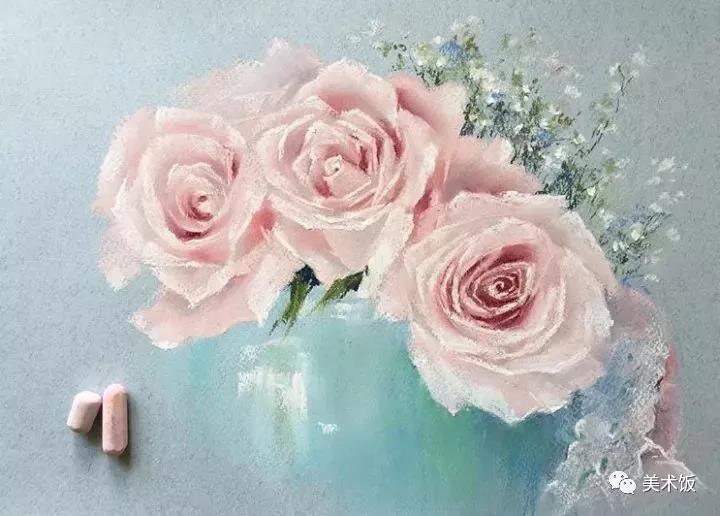 粉笔画作:玫瑰——美术饭