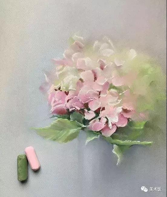 粉笔画作:绣球花——美术饭