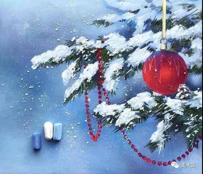 粉笔画作:圣诞树——美术饭