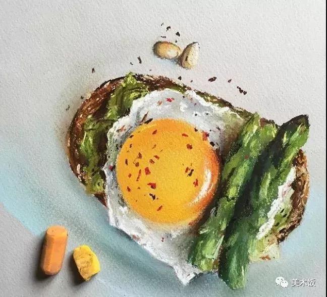 粉笔画作:黄瓜鸡蛋——美术饭