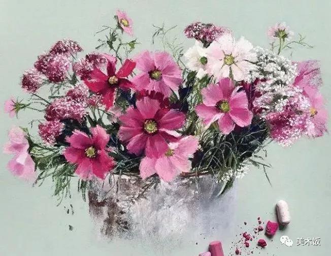 粉笔画作:花——美术饭