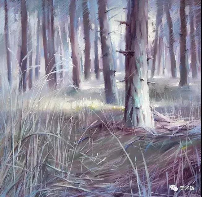 粉笔画作:树林——美术饭