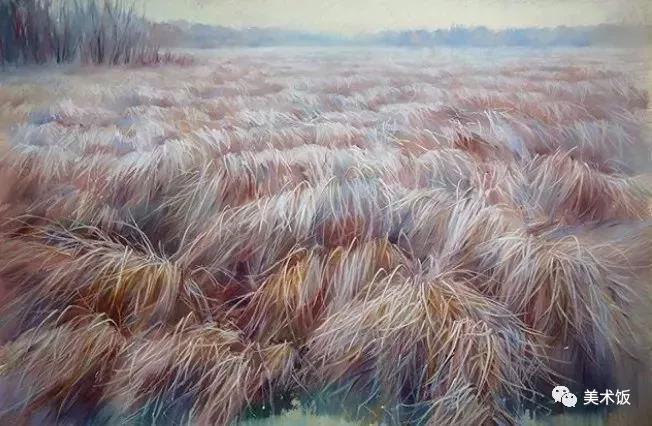 粉笔画作:草地——美术饭