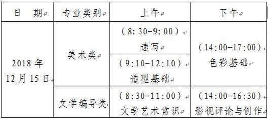 山东美术统考时间表