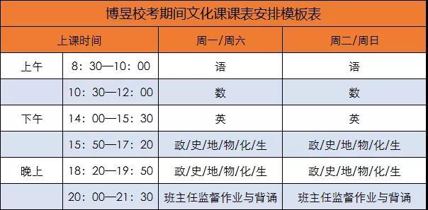 武汉博昱画室校考期间文化课表