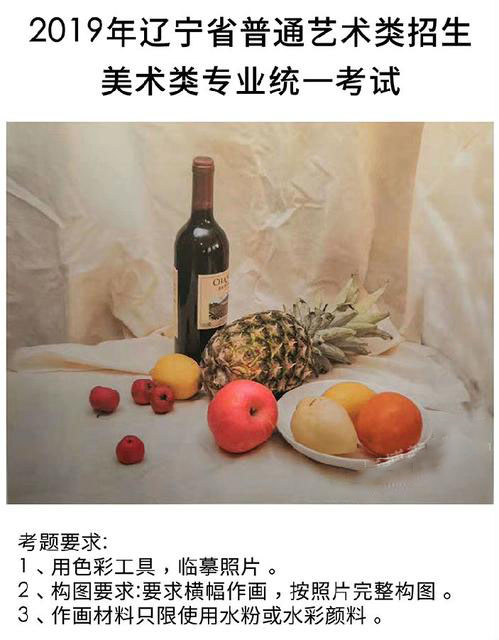 2019辽宁美术联考/统考 色彩考题内容——美考资讯