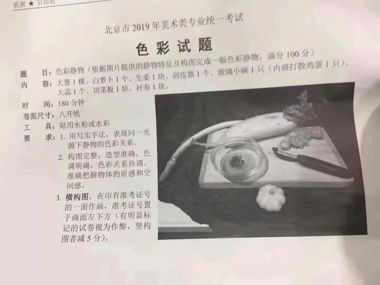 2019届北京美术联考素描考题——美术高考考题