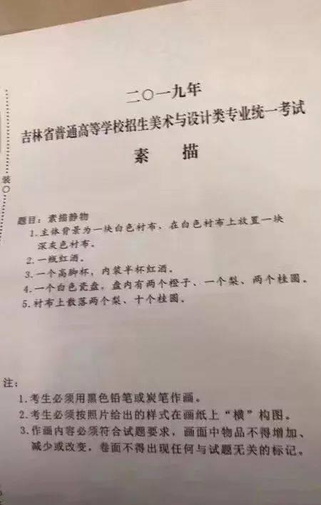 吉林省2019美术联考(统考)素描考题——美术高考