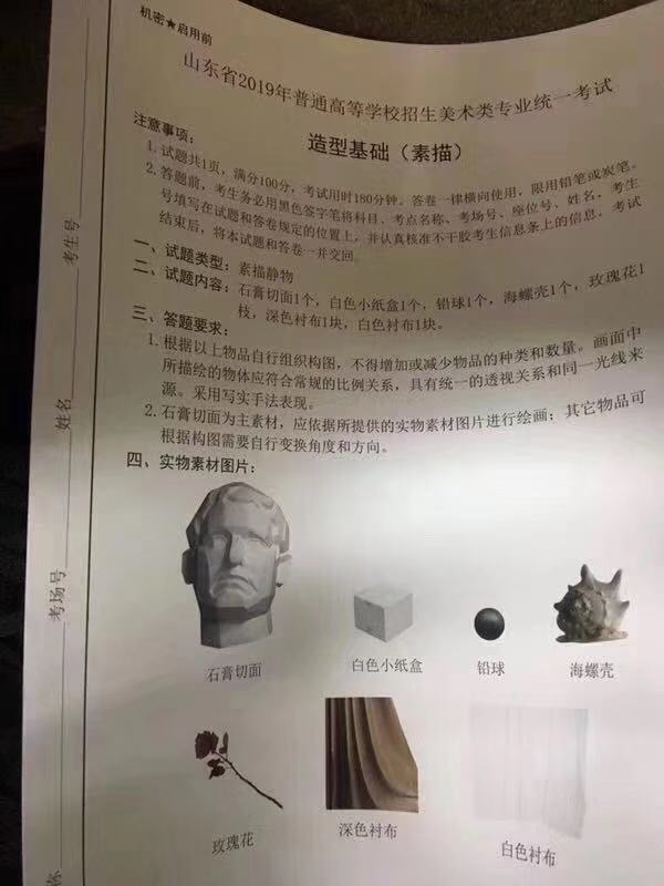 山东省2019年美术高考联考素描考题