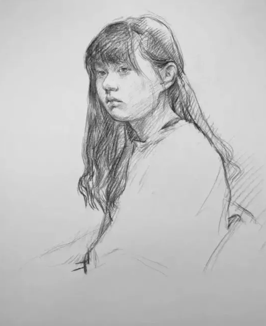 智博美术培训画室教你零基础画女青年素描半身像