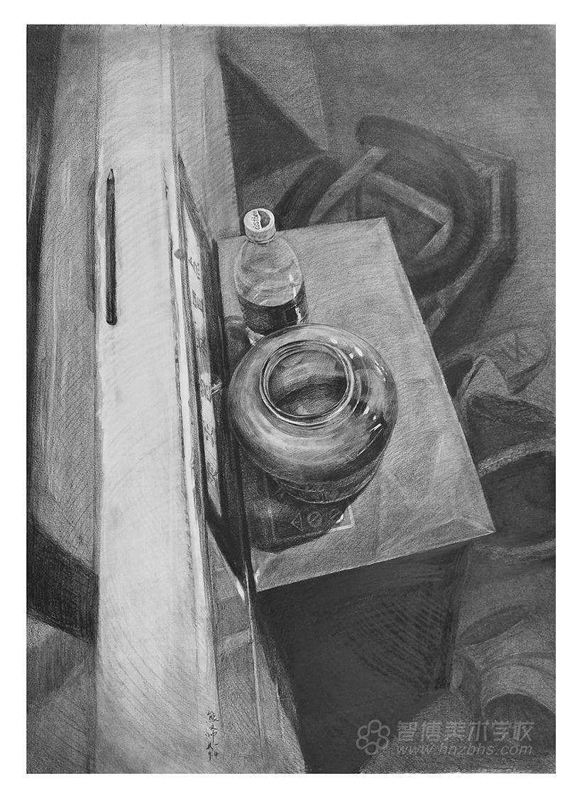 精微素描作品鱼缸