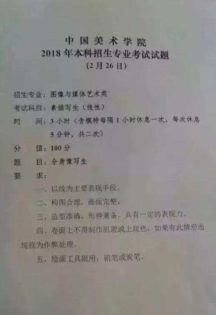 2018年中国美术学院校考考题赏析