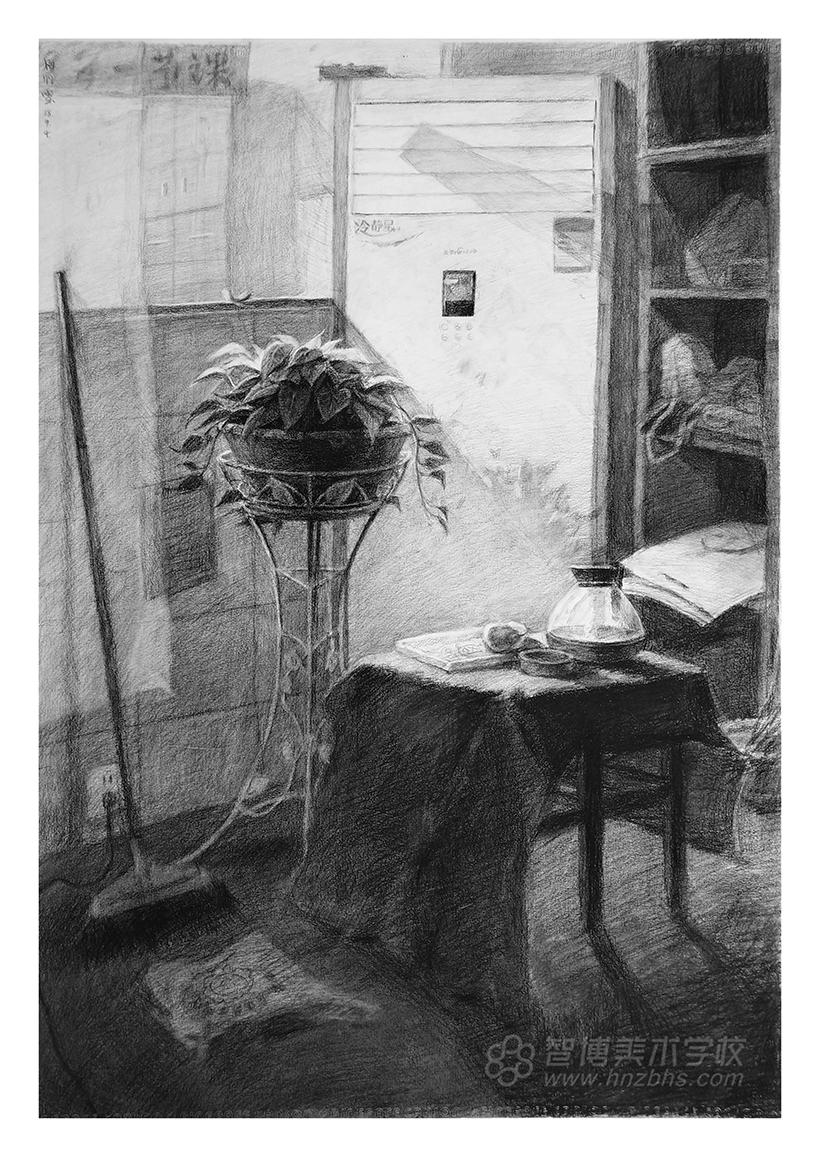 精微素描作品花盆