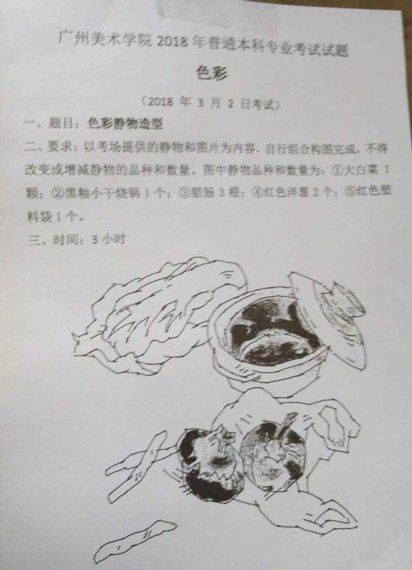 2018年广州美术学院美术校考考题大全图片